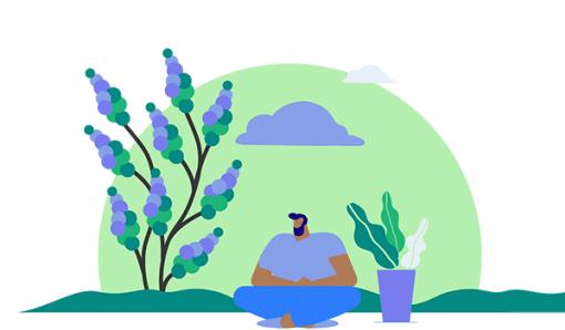 Illustration of man sitting cross legged