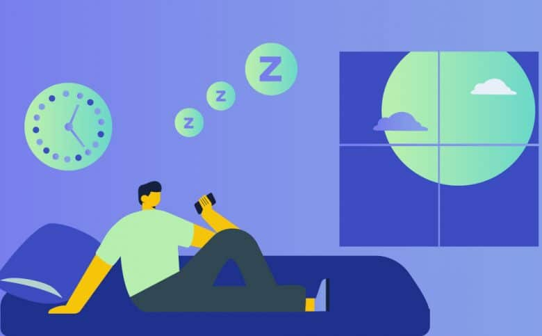 Illustration of man reclining on bed looking at his phone.
