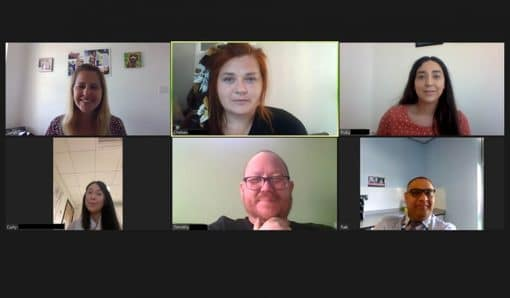 Screen shot from an online meeting with six participants